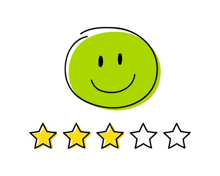 Rating icon - three stars. Green coloured happy stickman. Vector.