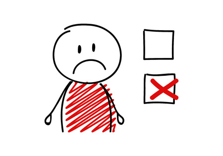 Tick icon with sad stickman. Vector.