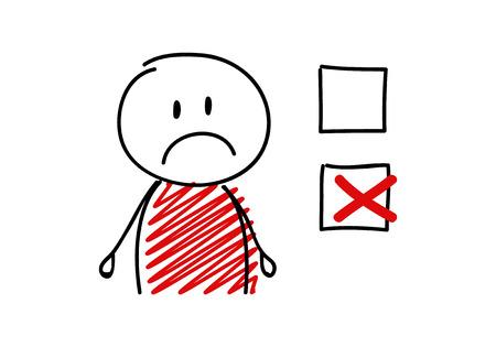 Häkchensymbol mit traurigem Strichmännchen. Vektor. Vektorgrafik