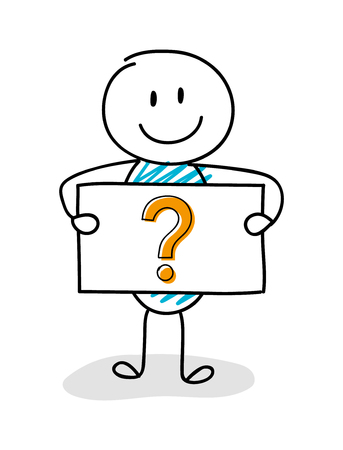 Smiley stickman holding board with question mark icon. Vector.