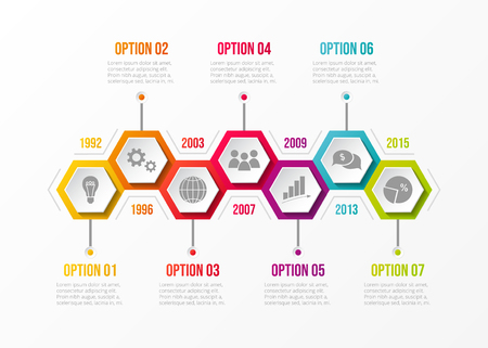 Concept of company timeline with business icons. Vector. Illustration