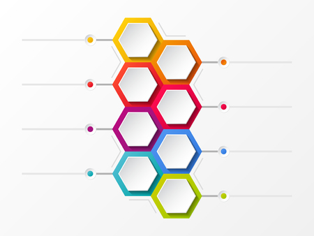 Empty layout with hexagons - concept of infograph. Vector.
