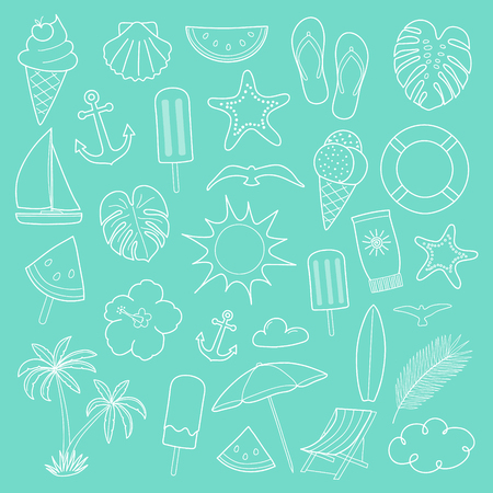 Collection of summer icons. Vector.