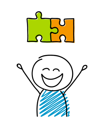 Puzzle (solution) symbol with happy stickman. Vector.