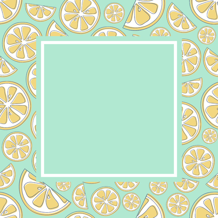 Colourful frame with citruses and copyspace. Vector.