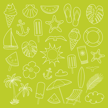 Vintage summer icons - big collection. Vector.
