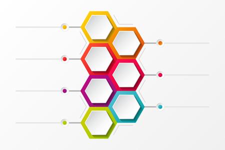 Diseño vacío con hexágonos - concepto de infografía. Vector.