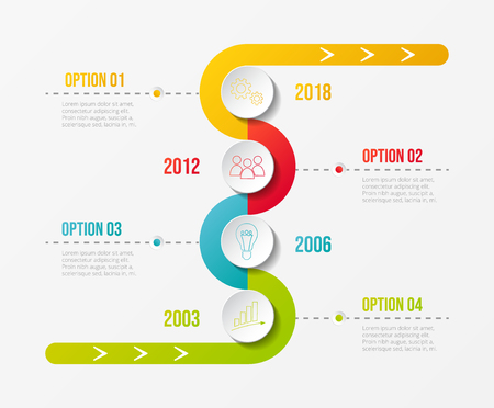 Colourful company timeline with round business icons. Vector.