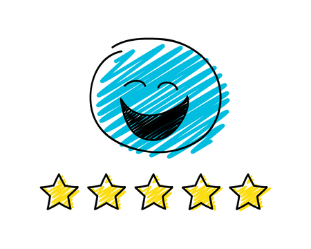 Review - five star rating. Happy blue coloured stickman. Vektorgrafik
