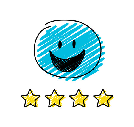 Review - four star rating. Happy blue coloured stickman. Vector.