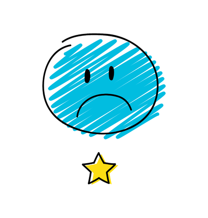 Review - one star rating. Happy blue coloured stickman. Vector. Illustration