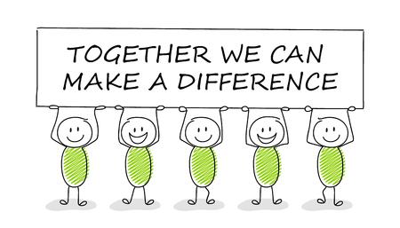 Handgezeichnetes Konzept von Stickman mit Geschäftstext: Gemeinsam können wir einen Unterschied machen. Vektor.