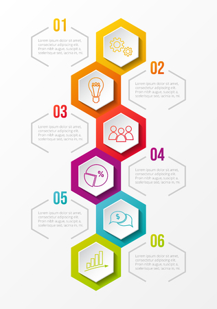Hexagonal infographic with colourful business icons. Vector.