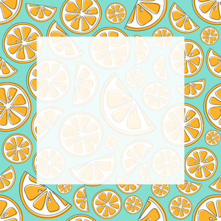 Colourful frame with cute hand drawn oranges and copyspace. Vector.
