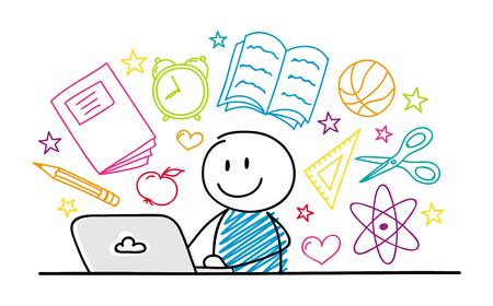 Stickman felice che lavora al computer portatile - concetto della scuola. Vettore. Vettoriali
