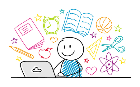 Stickman feliz trabajando en la computadora portátil - concepto de escuela. Vector. Ilustración de vector