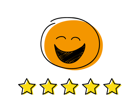 Rating icon - five stars. Orange coloured happy stickman. Vector.