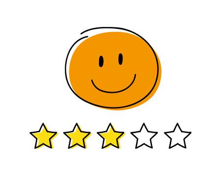 Rating icon - three stars. Orange coloured happy stickman. Vector.