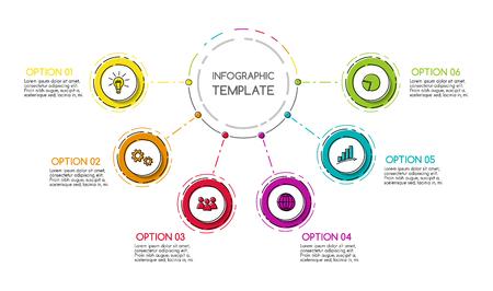 Cronología empresarial colorida con elementos dibujados a mano. Vector.
