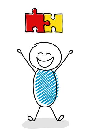 Happy stickman with puzzle (success concept) icon. Vector.