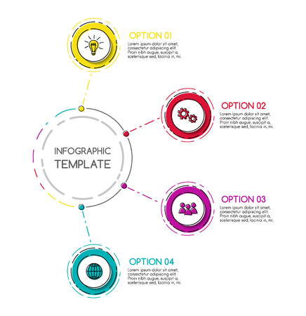 Business infograph with round hand drawn icons.  Vector.