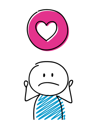 Heart (love) icon with confused stickman. Vector.