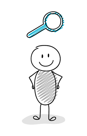 Cartoon stickman holding magnifier (search) symbol. Vector.