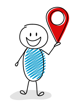 Happy stickman with geotag (map pin) icon. Vector.