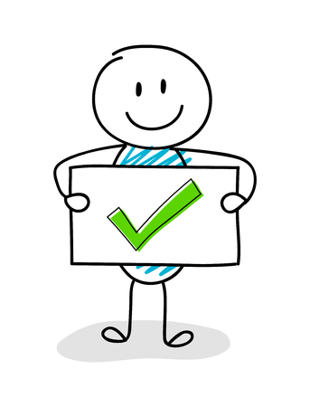 Smiley stickman holding board with tick mark (checkmark) icon. Vector. Stock Illustratie