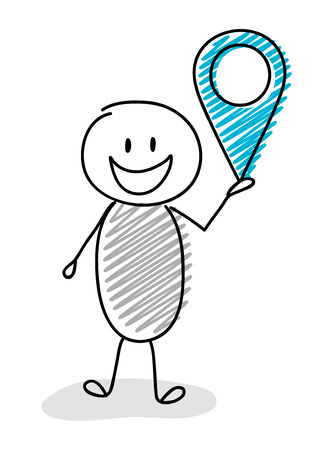 Cartoon stickman holding map pin (geotag) symbol. Vector.