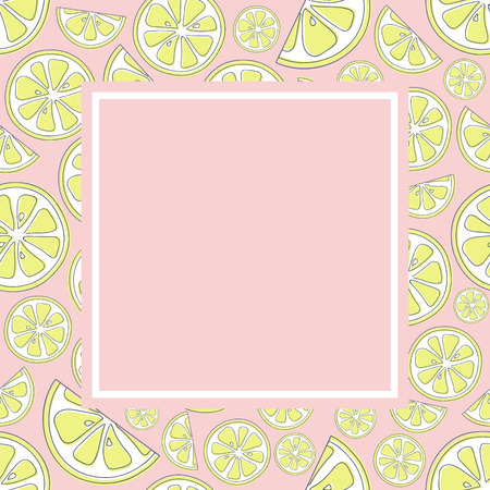 Pastel coloured background in retro style with cute lemons. Vector.