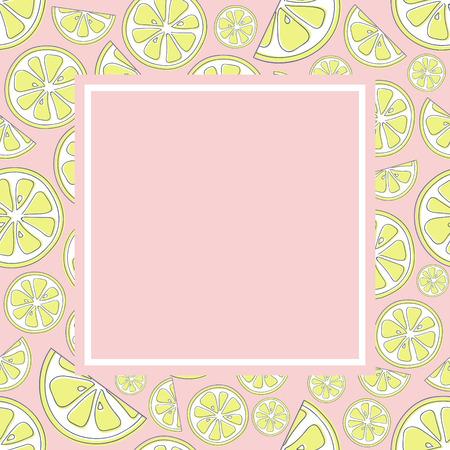 Pastellfarbener Hintergrund im Retro-Stil mit süßen Zitronen. Vektor.