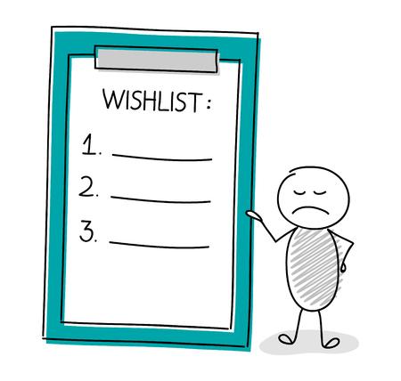 Cute stickman holding wish list. Vector Ilustrace