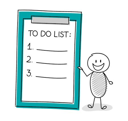 Happy hand drawn stickman with to do list. Vector.