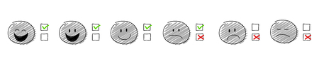 Checkmarks - zestaw z kreskówkowymi stickmenami. Wektor.