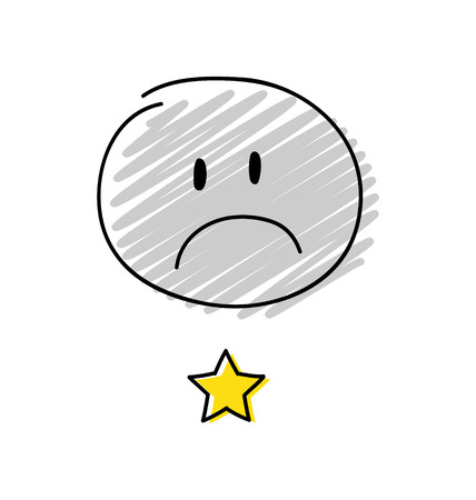 Review - one star rating. Happy gray coloured stickman. Vector.