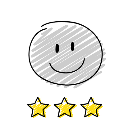 Review - three star rating. Happy gray coloured stickman. Vector.