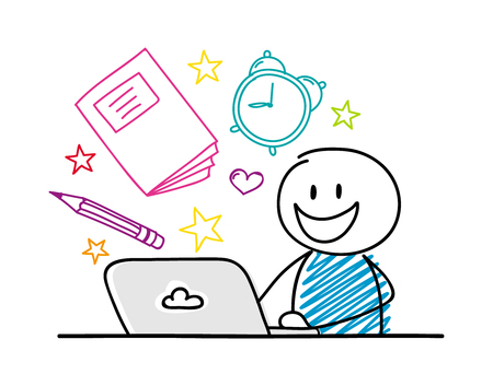 Happy stickman working on laptop - school concept with accessories. Vector. Illusztráció