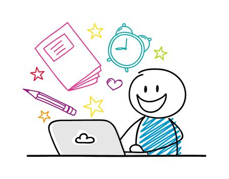 Stickman felice che lavora al computer portatile - concetto di scuola con accessori. Vettore. Vettoriali