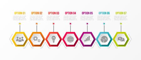 Plantilla de infografía empresarial con diferentes iconos. Vector.
