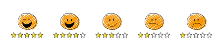 Set of review icons - star rating with cartoon stickman. Vector.