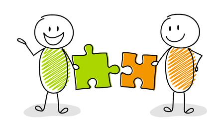 Stickman felice che istituisce i puzzle - concetto di affari. Vettore. Vettoriali