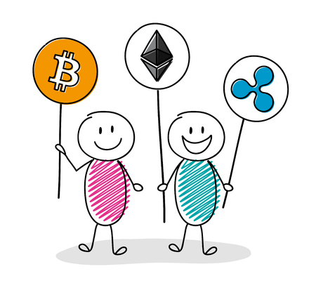 Happy people holding cryptocurrency icons. Vector. Illustration