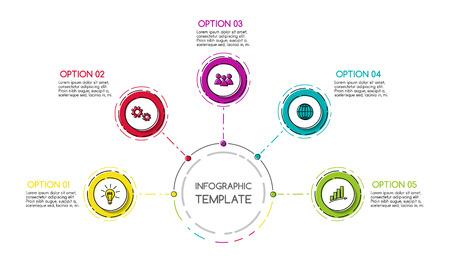 infografía de negocios con iconos dibujados a mano colorido. vector