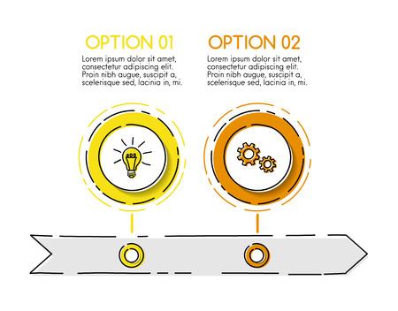 Modello di cronologia aziendale con elementi disegnati a mano. Vettore.