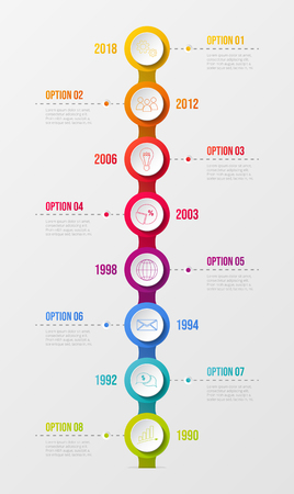 Concept of company milestone with  colourful icons.Vector.