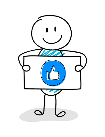 Smiley stickman holding board with thumb - like (social media) icon. Vector.