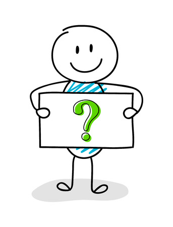 Smiley stickman holding board with hand drawn question mark icon. Vector. 矢量图像