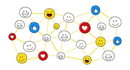 Design of big social media network with cartoon characters. Vector.