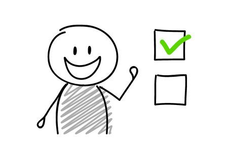 Checkbox-Symbol mit lustigem Cartoon-Stickman. Vektor.